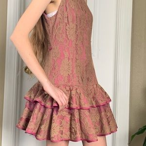 Ruffled lace mini dress